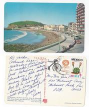 Mexico Mazatlan Olas Altas Beach Boulevard Vintage Postcard Stamp 1977 TB Seal - $7.56