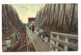 Netherlands Marken Haven Pier Dock Fishing Boats Nets Vtg Trenkler Postcard - $7.56