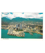 Hawaii Honolulu Aerial View Harbor Aloha Tower Vtg Postcard 4X6 HI - $7.56