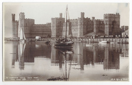 UK England Caernarvon Castle South Front River HM Office of Works Real Photo PC - $7.56
