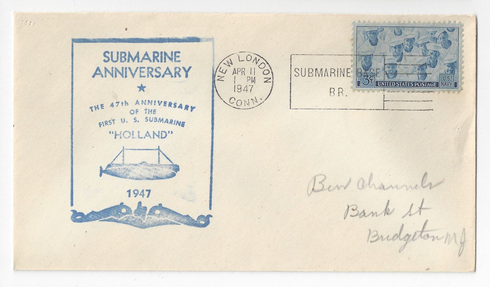 1947 Naval Cover 47th Anniversary U.S. Holland Submarine Cachet New London CT