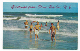 Greetings from Stone Harbor NJ Waders Swimmers Surf Waves Vintage Postcard - $7.56