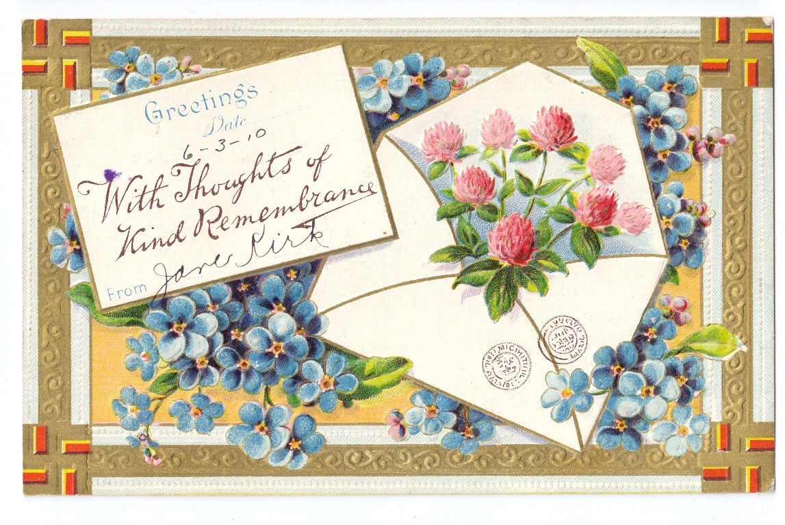 Vintage Greetings Remembrance Postcard Embossed Gilt Clover Forget Me Nots 1910