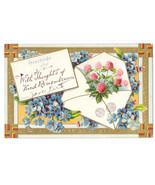Vintage Greetings Remembrance Postcard Embossed Gilt Clover Forget Me No... - $5.99