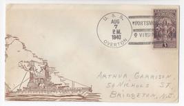 Naval Cover USS Overton DD 239 Portsmouth VA 1940 Cachet - $7.56