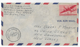 1944 Censored Navy Cover WWII Ship Training Command Amphibious Forces - $7.56