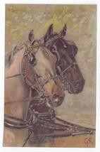 Horses Artist Signed GK Vintage Paul Finkenrath Berlin Postcard Glitter - $6.49