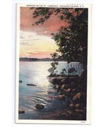 NY Thousand Islands Evening St Lawrence River Sunset Jubb 1931 Curteich - $6.49
