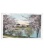 Washington DC Lincoln Memorial Japanese Cherry Blossoms Vtg Reynolds Pos... - $6.49