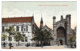 UK Chester Abbey Gate & Kings School Vintage Postcard 1909 - $5.81