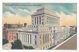 MA Boston Christian Science Publishing Society Vtg Linen Postcard - $6.49