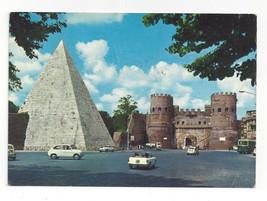 Italy Roma Pyramid Caius Cestis Rome St. Paul Gate Vtg 1970 Postcard 4X6 - $6.49