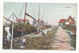 Netherlands Marken Boats Loading Hay Vtg Postcard c 1910 - $7.75