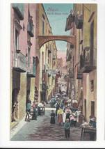 Italy Napoli Naples Via di Basso Porto Street Scene Vtg Ragozino Postcar... - $7.75