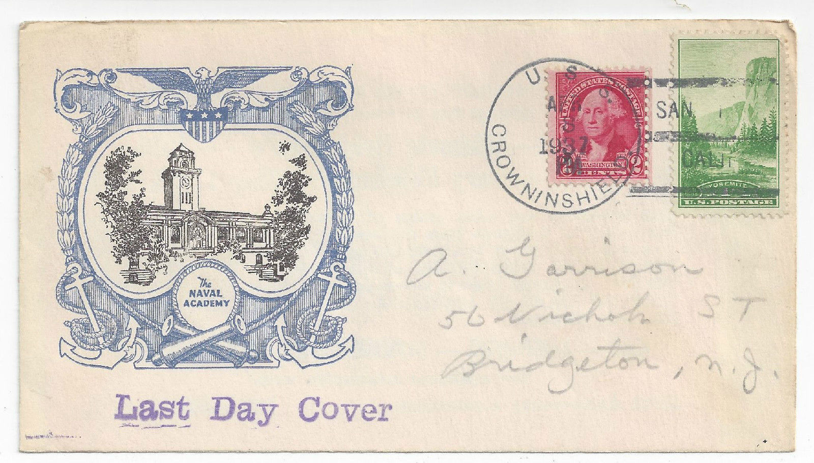 Naval Cover USS Crowninshield DD-134 Last Day Decommissionied Linprint Cachet