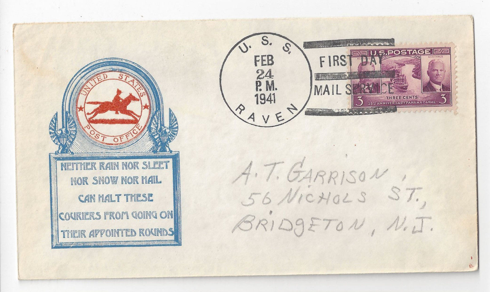 Naval Cover USS Raven AM-55 First Day Postal Service 1941 FDPS
