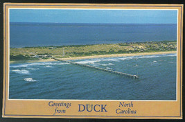 NC Greetings from Duck North Carolina Aerial Outer Banks Kittyhawk Vtg P... - $7.75