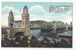 Germany Koln Cologne Coln Dombrucke Hohenzollern Bridge Vtg Postcard c 1910 - $6.49