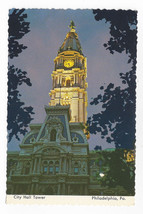 Philadelphia PA City Hall Clock Tower Twilight Night  ca 1970's Postcard... - $6.49