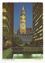 Philadelphia PA City Hall Tower Night  ca 1970's Ewing Galloway Postcard... - $6.49