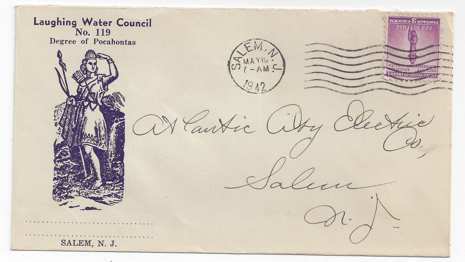 1942 Fraternal Org Cover Laughing Water Council Cachet Pocohontas Salem NJ