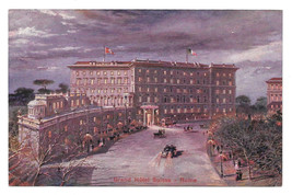 Italy Rome Grand Hotel Suisse at Night Vtg Postcard - $4.95