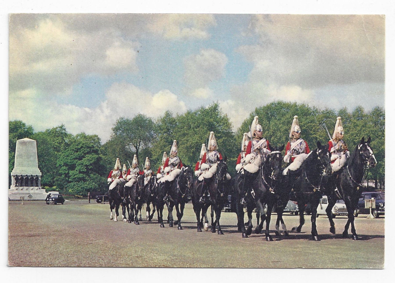 UK London Queen's Life Guards Horse Guards Vintage J. Arthur Dixon Postcard 4X6