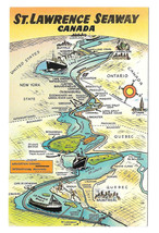 Canada Map St Lawrence Seaway Navigation Channel Cities Towns Vtg Postcard - $6.49