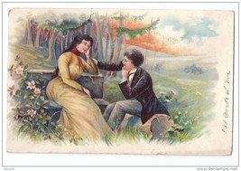 Romantic Couple 1908 PFB Finkenrath Vtg Postcard Romance - $6.49