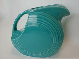 "Vintage Fiesta Disc Water Pitcher Turquoise Blue Full Size 7 1/4"" - $44.50"