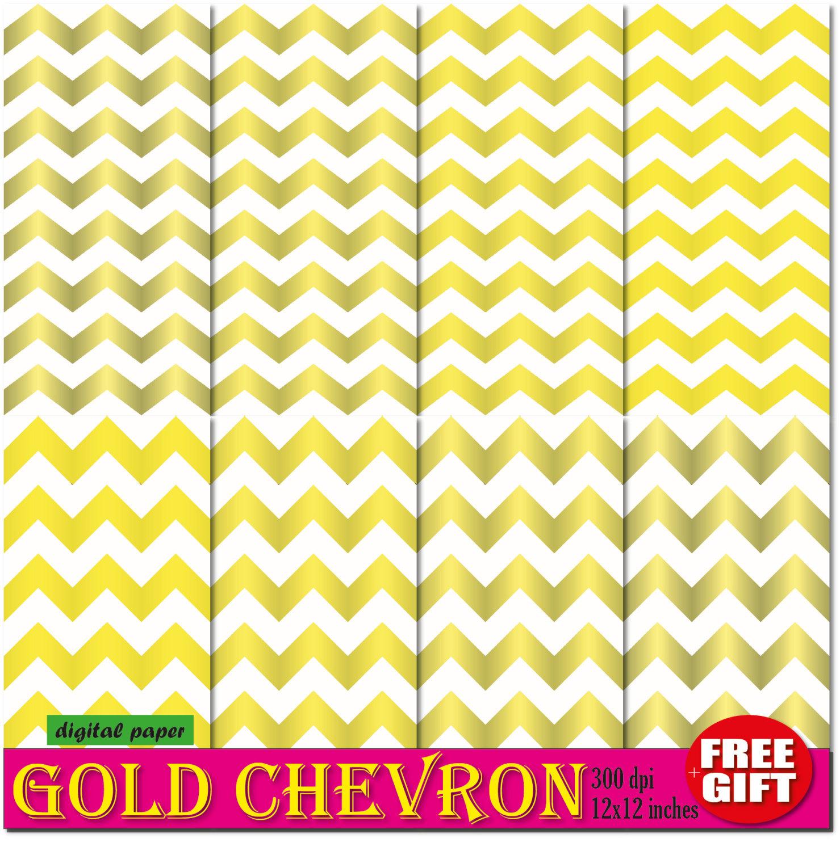 Gold chevron digital paper chevron wallpaper border gold for Chevron wallpaper home uk