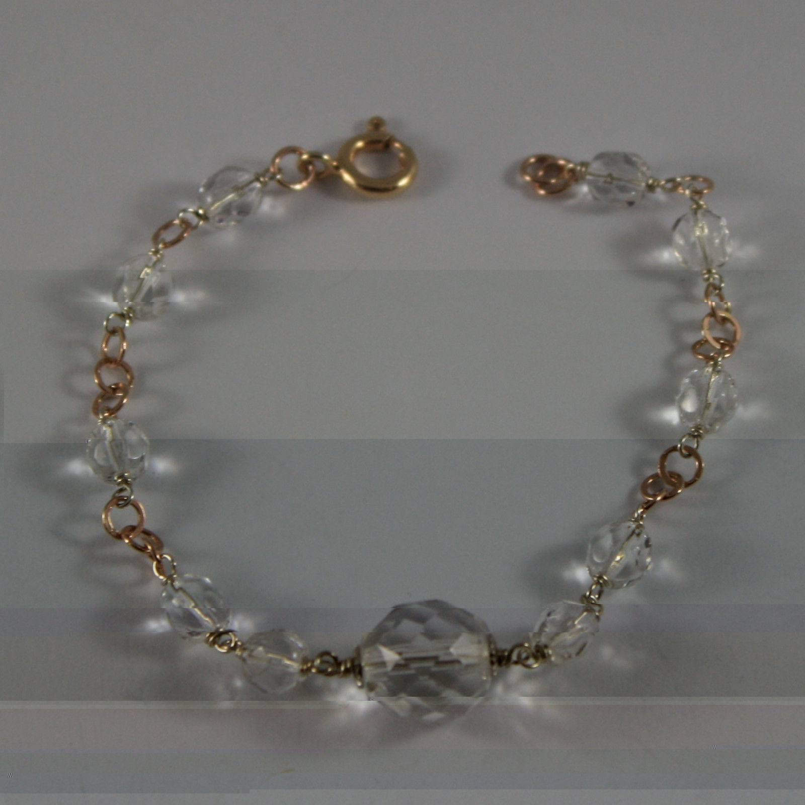 .925 RHODIUM SILVER ROSE GOLD PLATED BRACELET WITH TRANSPARENT CRYSTALS