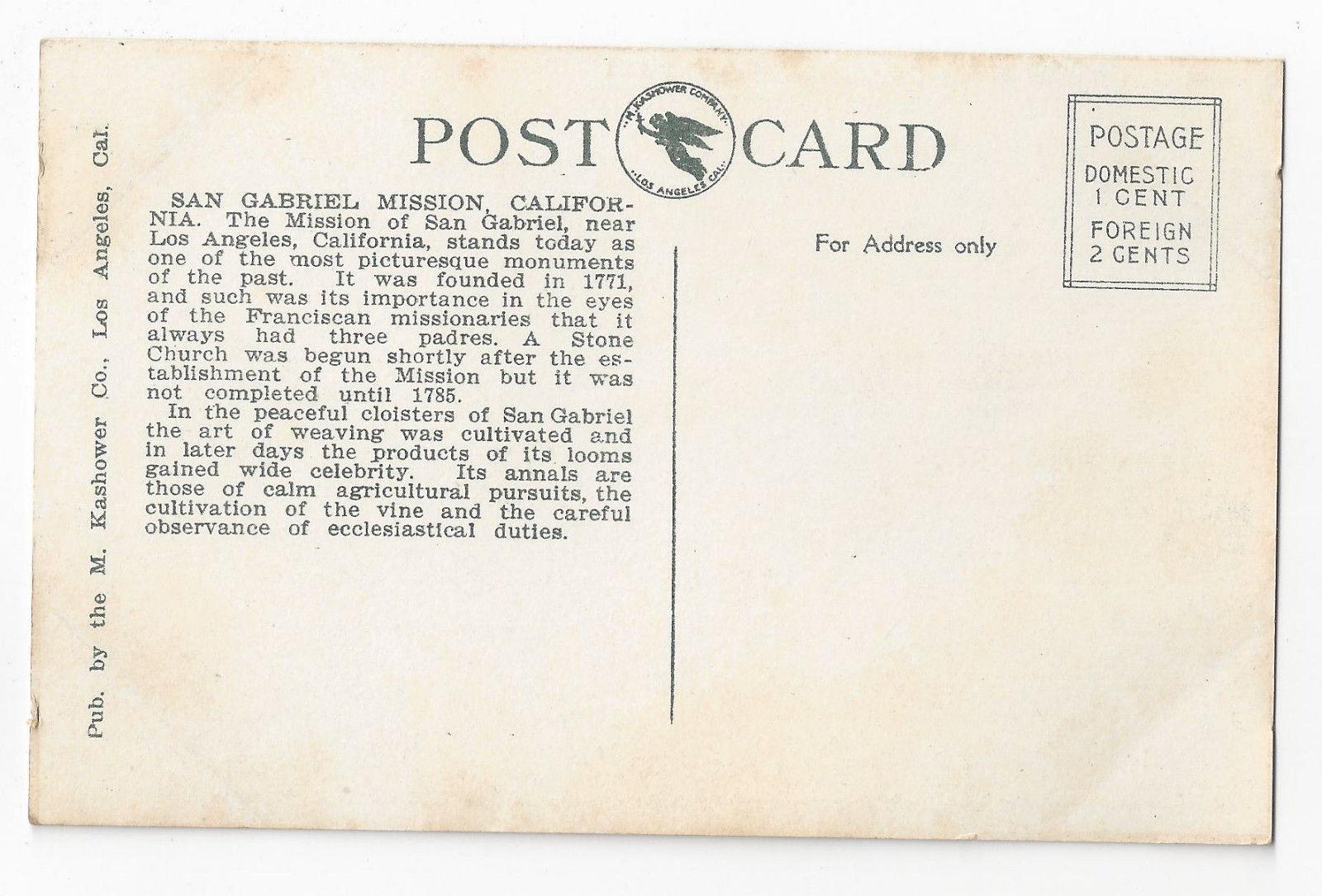 CA Mission San Gabriel Founded 1771 Vintage Kashower Postcard