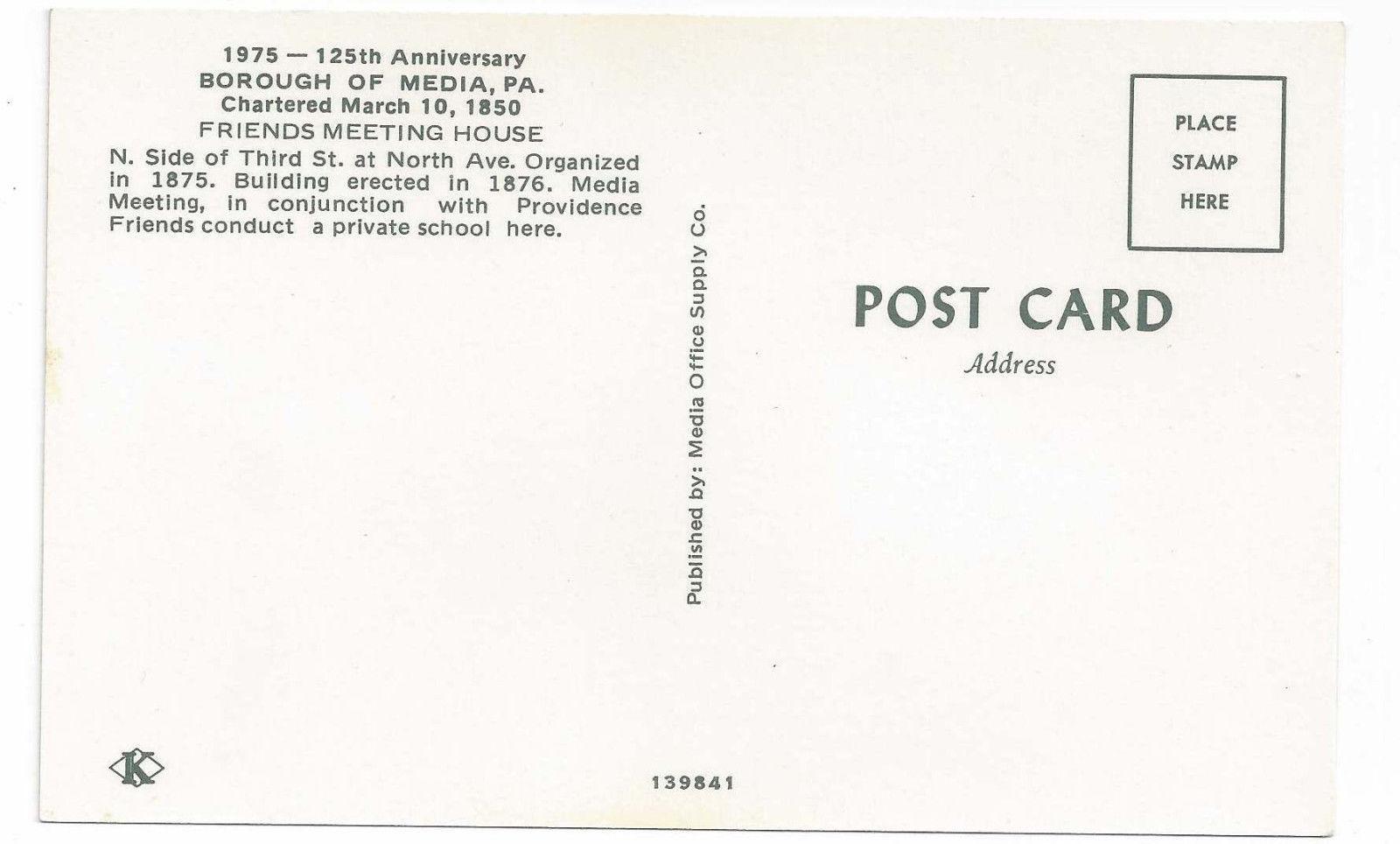 Media PA Friends Meeting Quaker School 1975 125th Anniv Vintage Postcard