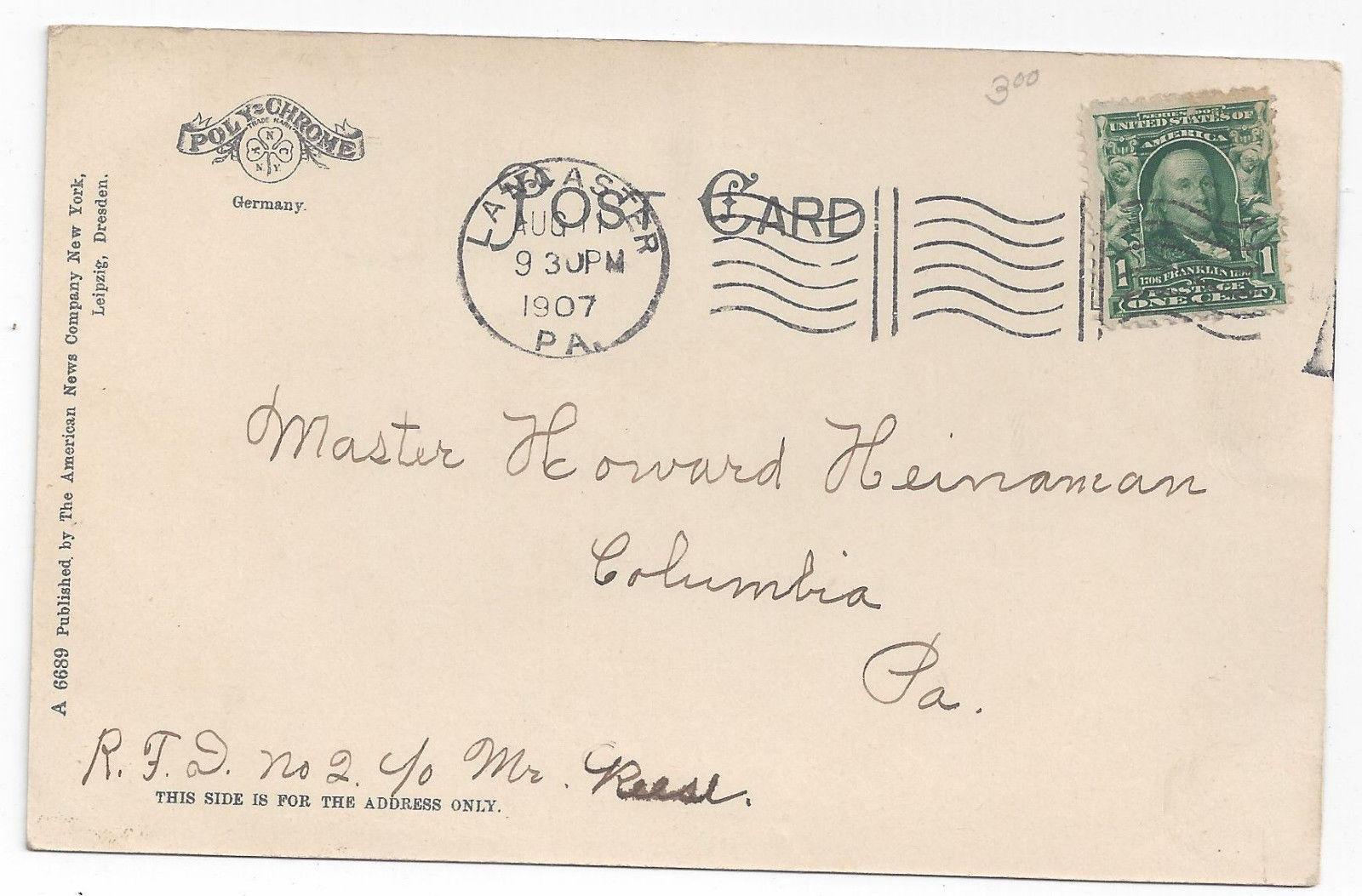 Lancaster PA General Hospital 1907 American News Co Vintage UND Postcard