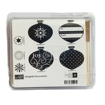 Stampin Up DELIGHTFUL DECORATIONS Christmas Stamps Set of 7 Retired NEW - $14.40