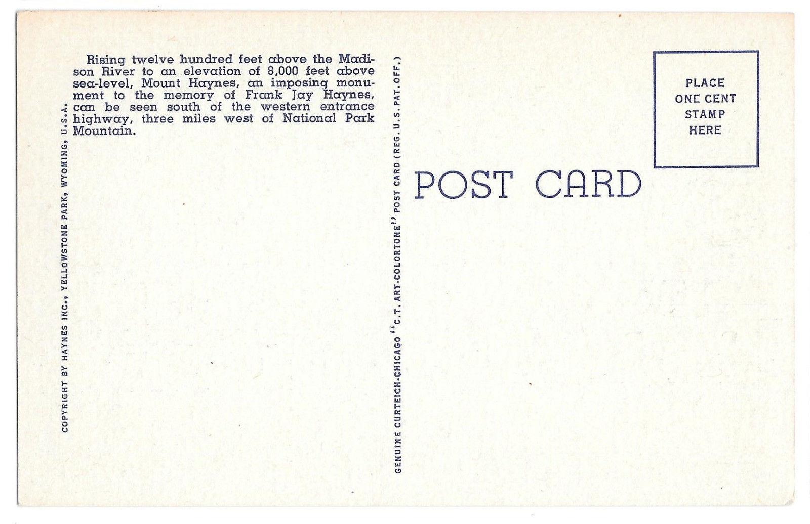WY Yellowstone Park Mount Haynes Madison Canyon Vtg Linen Postcard Wyoming