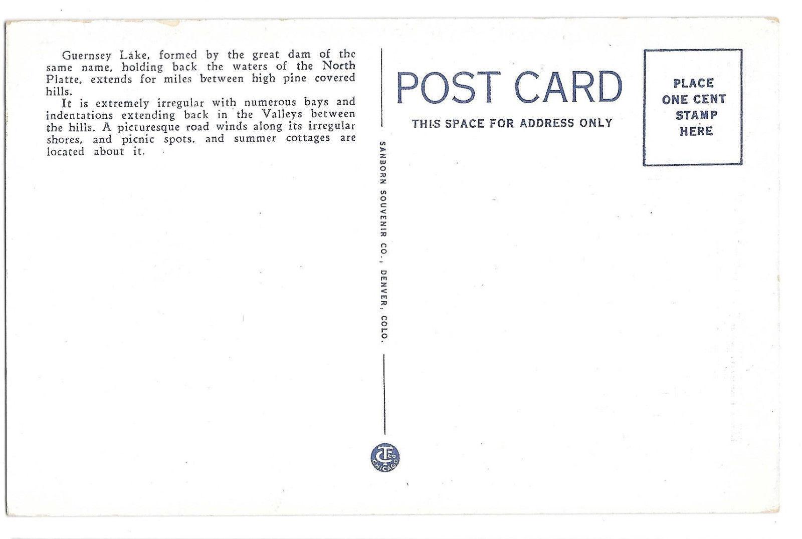 WY Guernsey Lake North Platte River Vtg Sanborn Postcard Wyoming