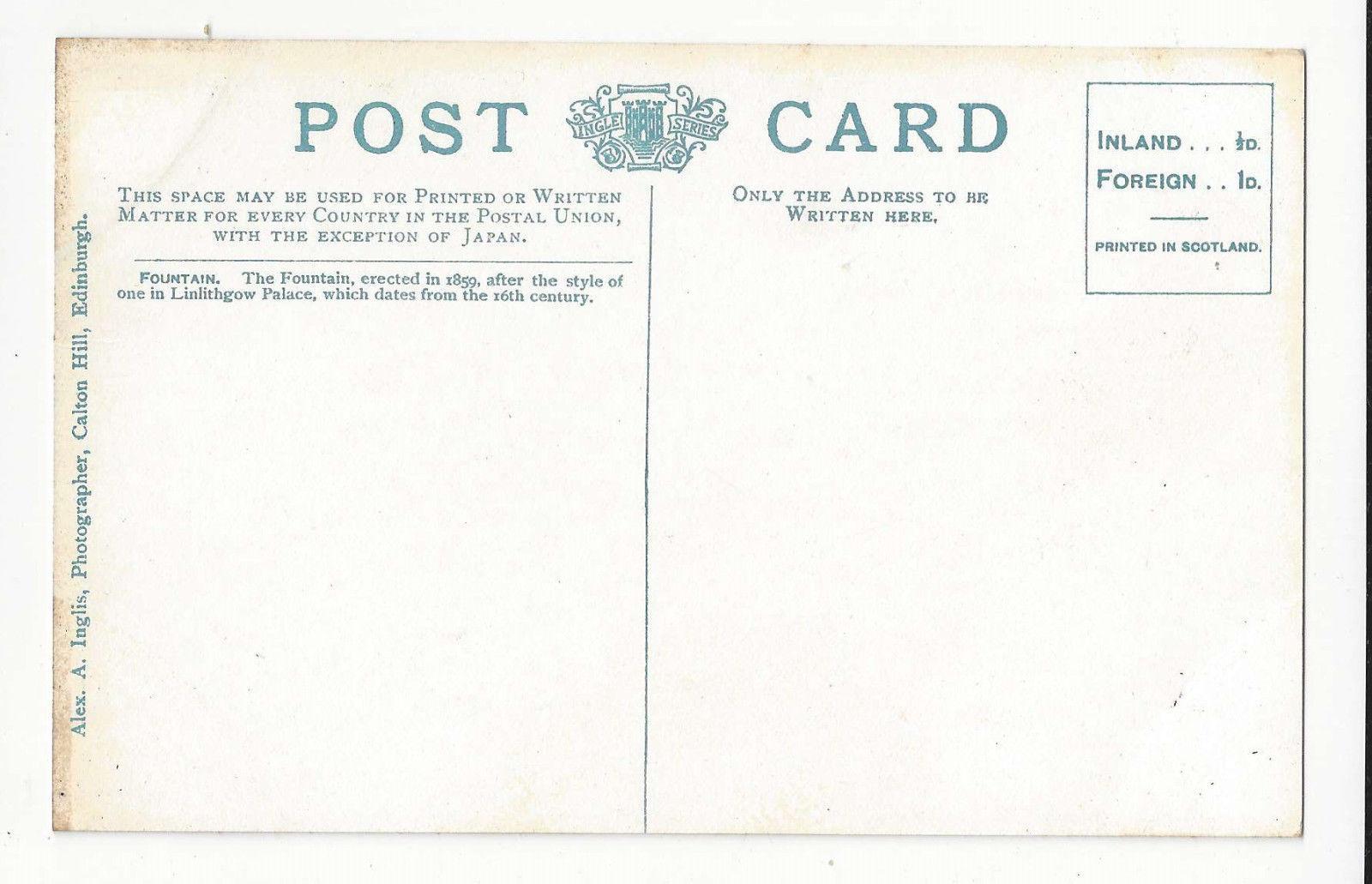 Scotland Edinburgh Holyrood Palace Fountain Vtg ca 1910 Postcard