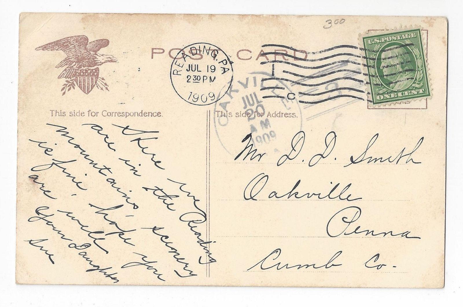 PA Reading Entrance City Park and Reservoir Vtg 1909 Postcard Oakville PA Doane