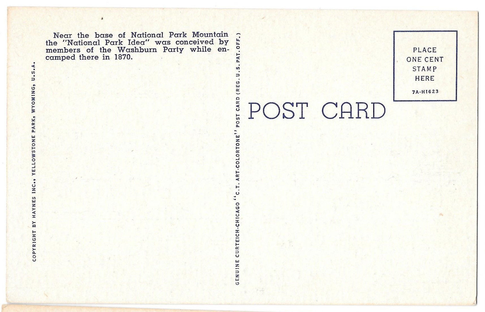 WY Yellowstone National Park Mountain Vtg Haynes Linen Postcard Wyoming