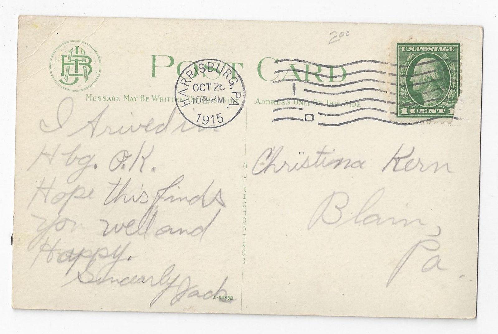 Harrisburg PA Mexican Monument Capitol Park Vintage 1915 Postcard