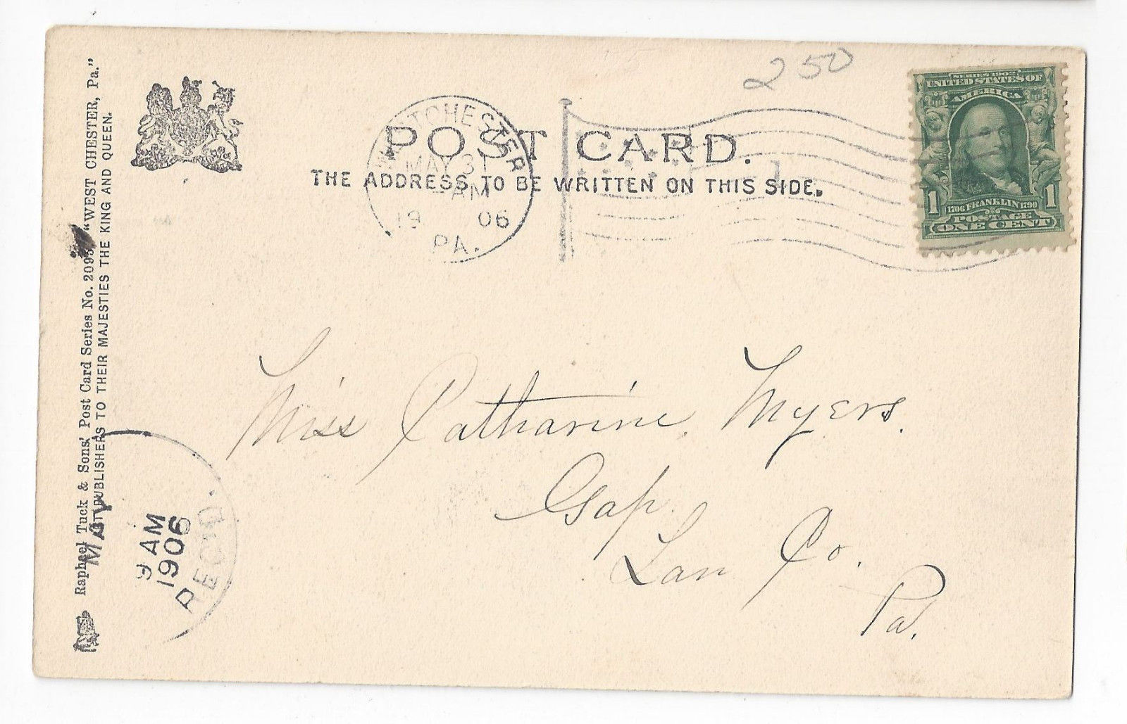 PA West Chester Westminster Presbyterian Church Vtg 1906 Tuck UDB Postcard
