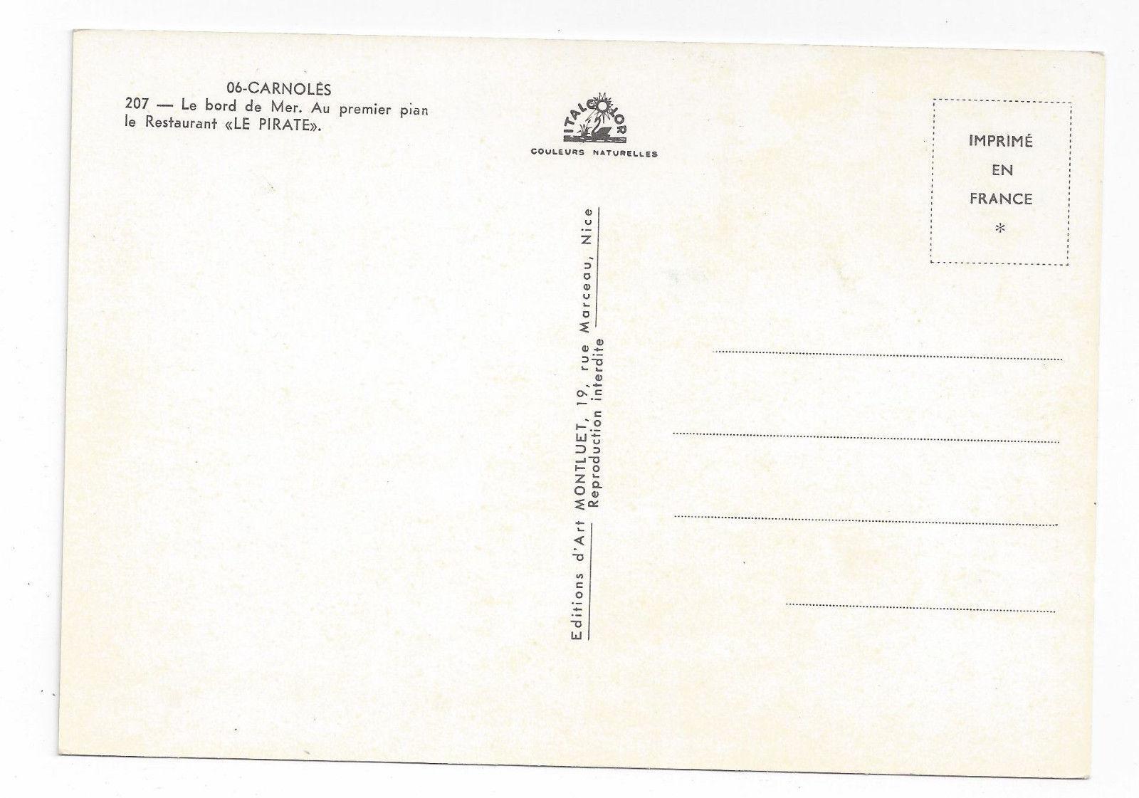 France Carnoles Menton Restaurant Le Pirate Vintage Montluet Postcard 4X6