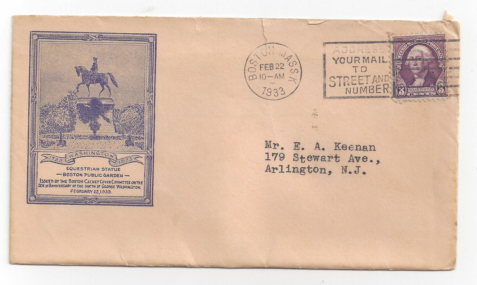 Washingtons Birthday Cover Boston MA 1933 Cachet Committee Inserts image 2