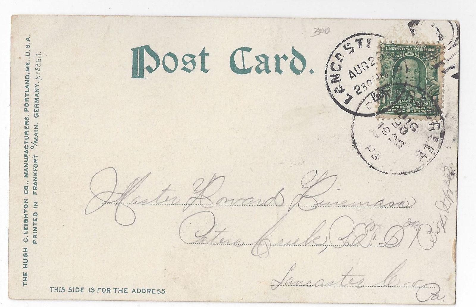 Lancaster PA Reservoir Park Blanch Nevins Fountain 1906 UND Postcard
