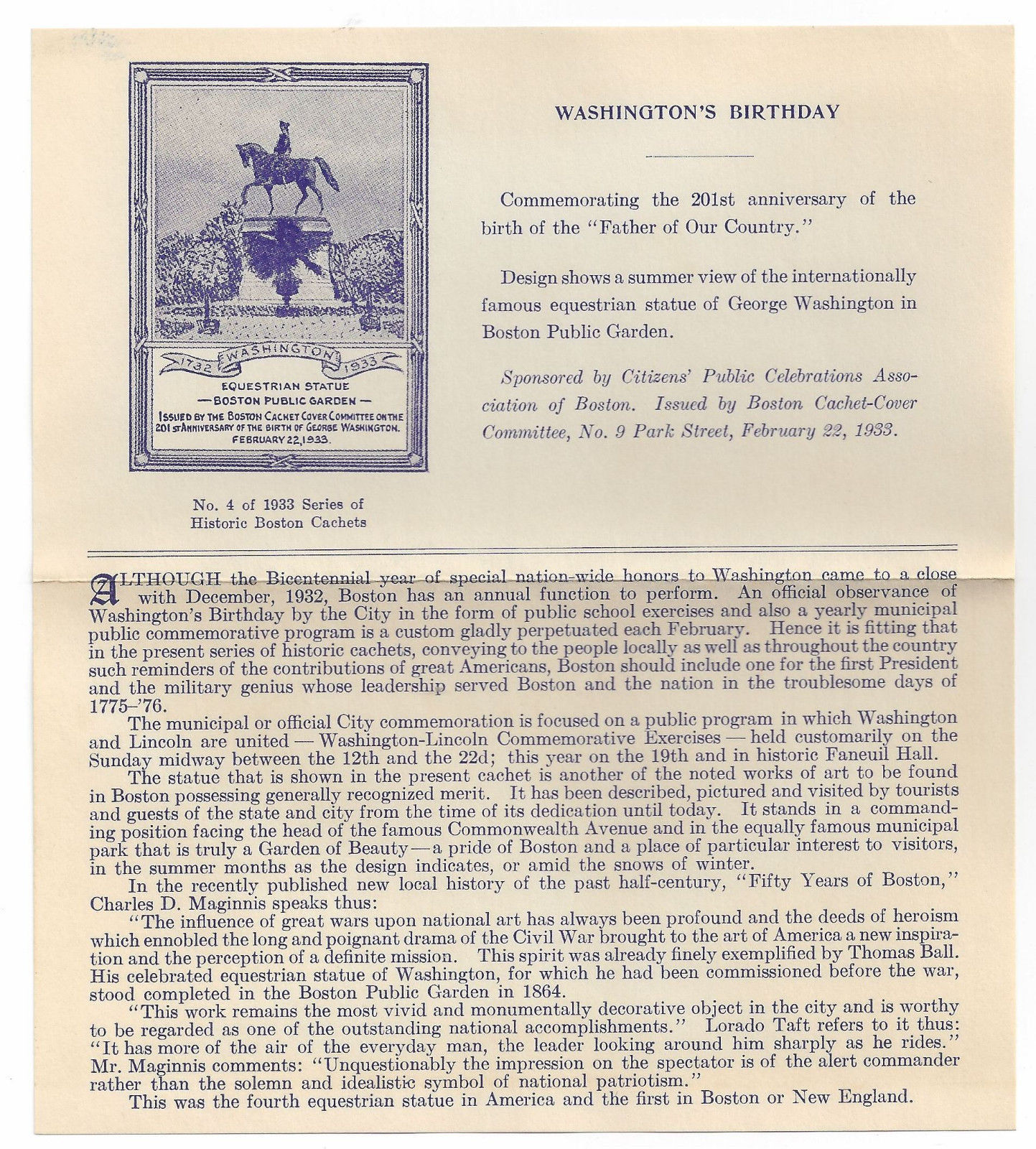Washingtons Birthday Cover Boston MA 1933 Cachet Committee Inserts image 3