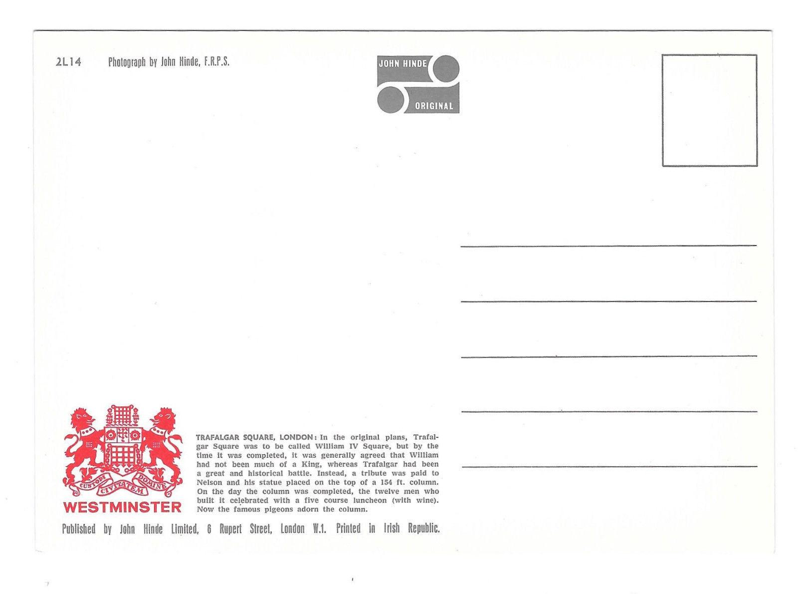 UK England London Trafalgar Square Nelsons Column Vtg Hinde Postcard 4X6