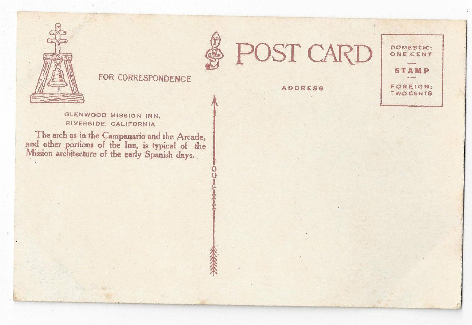 Riverside CA Glenwood Mission Inn Arch Vintage HH Tammen Tinted Postcard