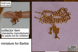 Barbie doll silhouette bracelet miniature golden chain - $24.99